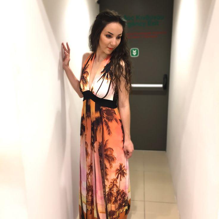 Anna Rachele Maxi Dress Going to the beach in a palm mood