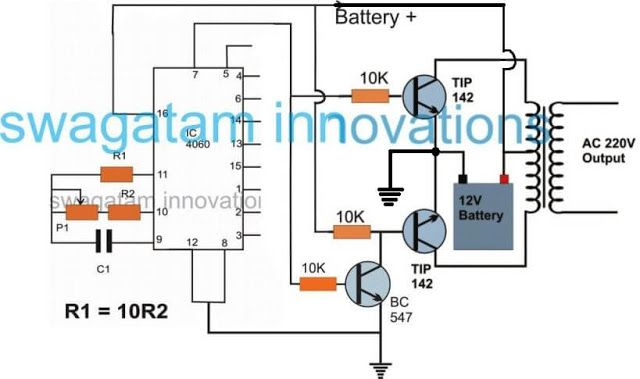 simple inverter using ic 4060 timer electronics circuit circuitsimple inverter using ic 4060 timer
