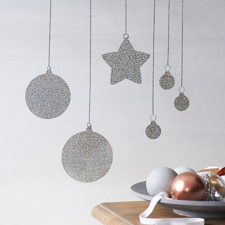 Glitter Baubles Wall Sticker. Christmas Wall DecorationsDiy ...