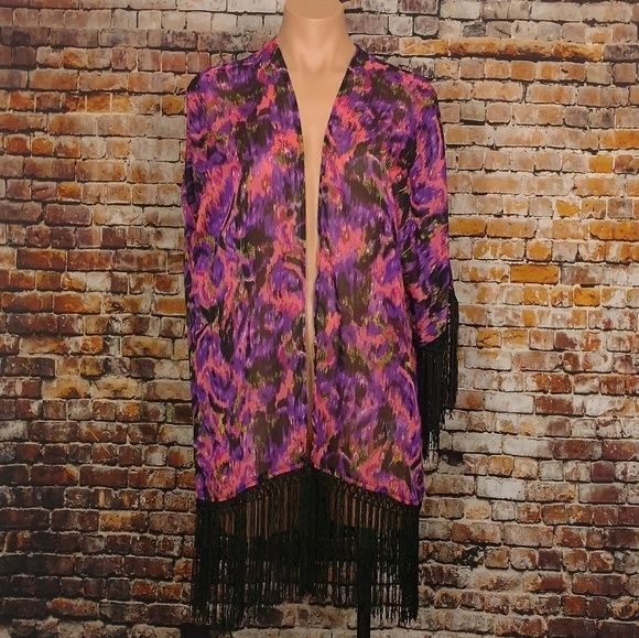 Fringe Kimono Swim Suite Cover Up Beach Bikini Ladies Small Pink Purple Rock 47 | Clothing, Shoes & Accessories, Women's Accessories, Scarves & Wraps | eBay!