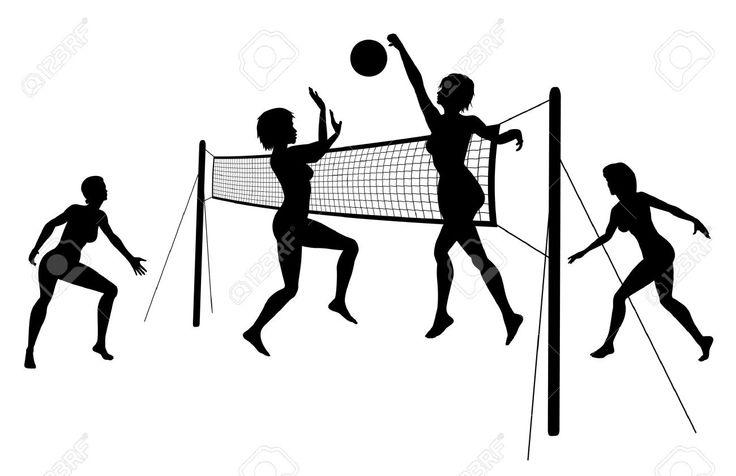 Siluetas de mujeres jugando voleibol de playa.
