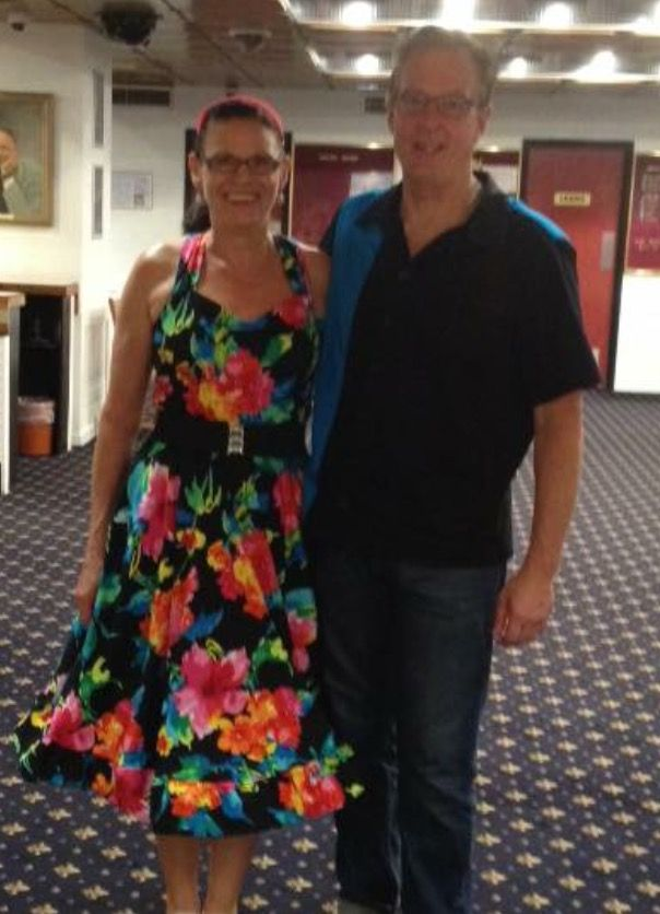 """Hi Maria, Here is a pic of the dress I made.  My new saying shall be """" you too can have one of your own- just buy The Pattern Drafter and start designing! P.S Made Dave's shirt too! Joanne Duncan"""