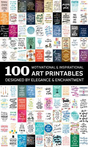 100 inspiring and motivational art printables, designed by Elegance and Enchantment. Sign up for a subscription to gain access to this growing library of designs, or take advantage of the free downloads that are shared every week!