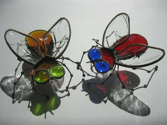 Art glass 3d sculpture Stained glass fly Tiffany insects
