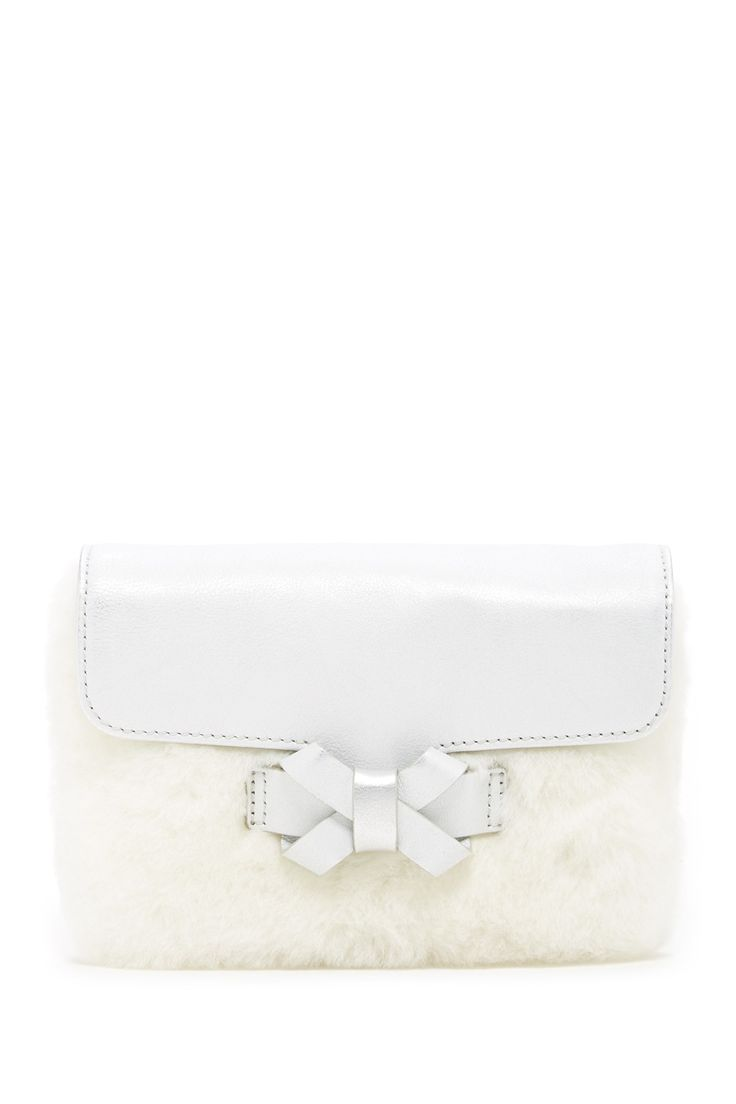 I Do! Bow Genuine Ovis Aries Fur Clutch