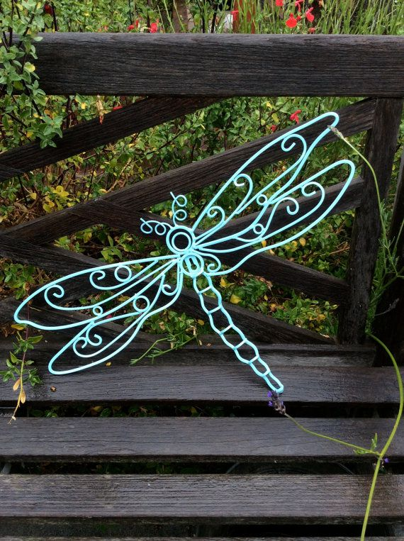 Garden Decor Dragonfly Decor Metal Dragonfly by honeywoodhome