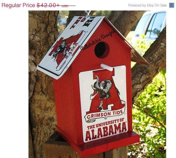 40% Off Today...Alabama Birdhouse,Roll Tide Birdhouse, Crimson Tide Birdhouse, Alabama Decor, Roll Tide Decor, Alabama Football,Roll Tide football