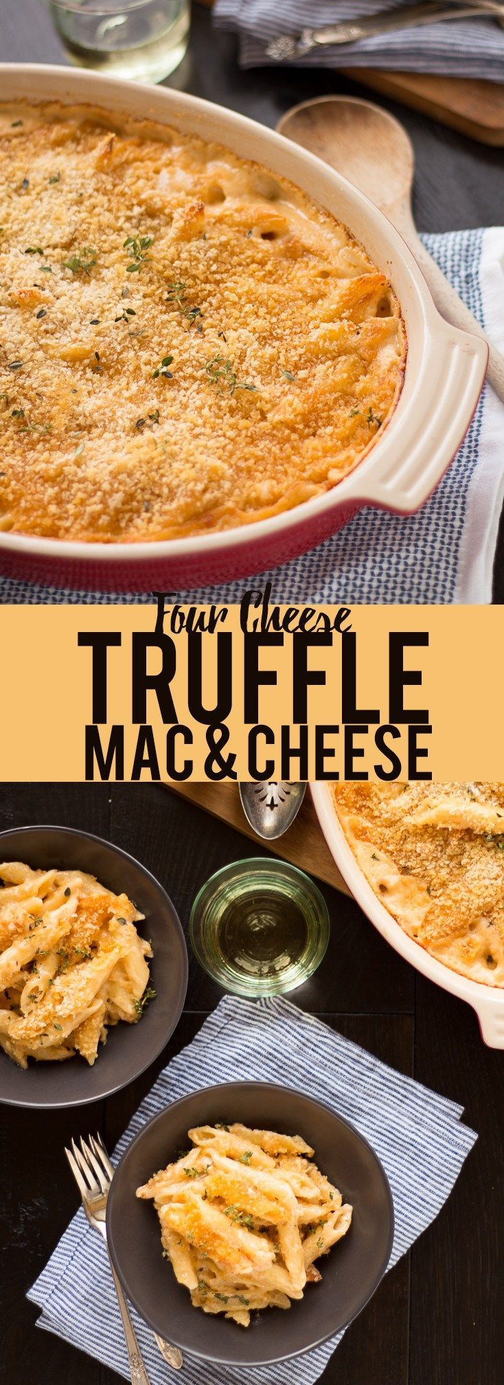 This decadent Four Cheese Truffle Mac and Cheese is creamy and delicious with a crispy topping! Four kinds of cheese, truffle oil and a panko topping make this the most delicious mac and cheese you have ever had! #TasteofItaly #sponsored