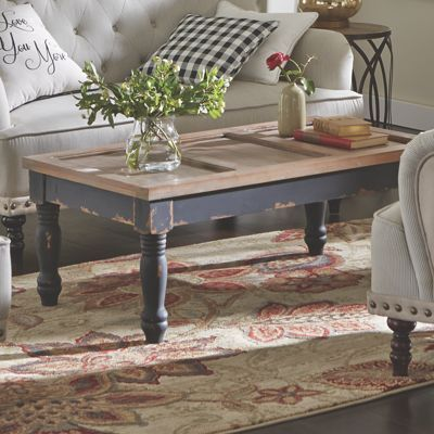 Tables   Our Coffee Table Resembles A Reclaimed Door On A Distressed Black  Painted Wood Base. Come Home To Comfortable Living Through The Country Door!