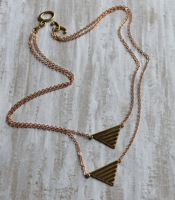 Brass triangle double necklace with Rose gold chain by NHjewel, $48.00