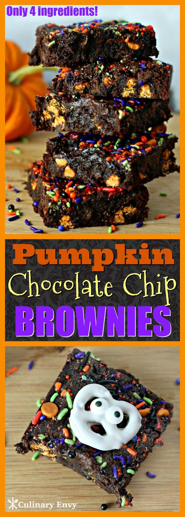 These 4 ingredient Pumpkin Chocolate Chip Brownies are the moistest, most incredibly rich and gooey, best chocolaty brownies with pumpkin chocolate chips you will ever make! Fun Halloween Dessert. Click to read more!