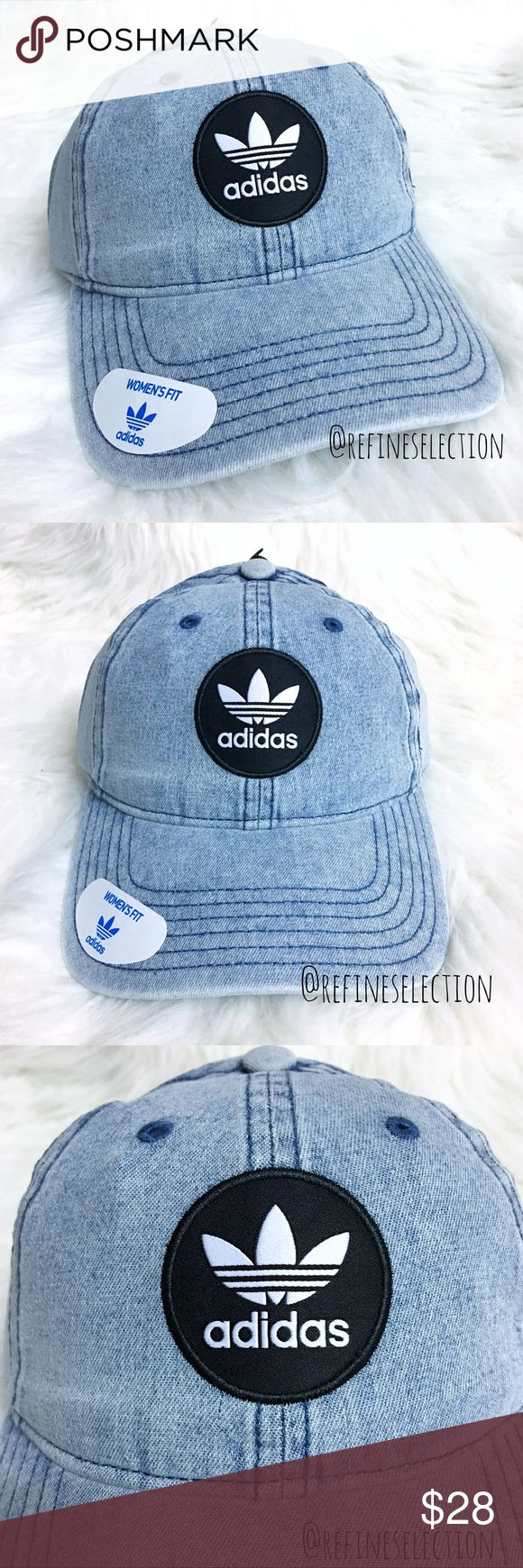 adidas Originals Washed Denim Patch Strapback Cap Brand new. This adidas Originals Washed Denim Patch Strapback Cap Hat is so classic and on trend right now! Love the vintage inspired chambray washed denim with the adidas trefoil patch in black and white on the front. Has the adidas trefoil logo embroidered in black on the back. Adjustable strapback for the perfect fit. This cap is specifically designed for a Women's fit! adidas Accessories Hats