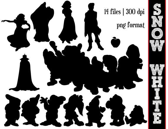 This listing is for an INSTANT DOWNLOAD of Disneys Snow white & the Seven Dwarfs Silhouettes which you can see in the image above. You will