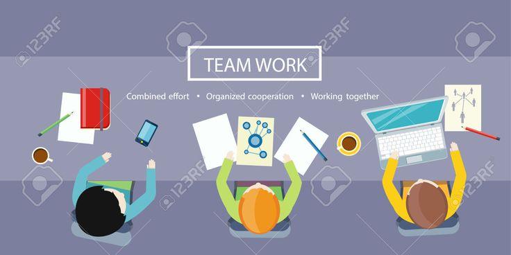 Concepto De Trabajo En Equipo. Vista Superior Reunión De Negocios En Diseño Plano Ilustraciones Vectoriales, Clip Art Vectorizado Libre De Derechos. Image 39304886.