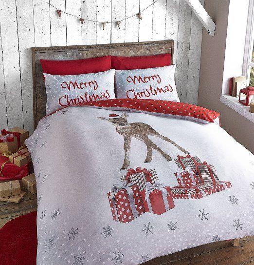 Catherine Lansfield-Set copripiumino singolo cervo di Natale, multicolore