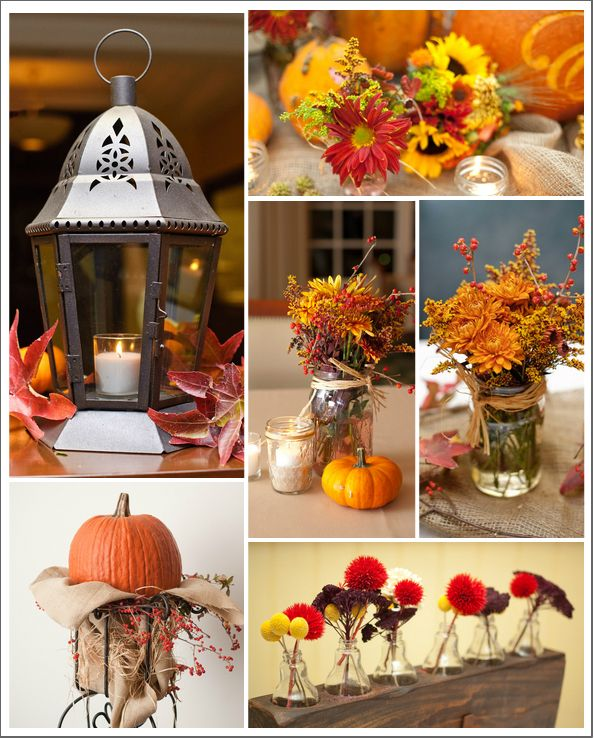 Don't know that you're really a fall wedding but here are simple inexpensive decorating ideas. Many more on the website.