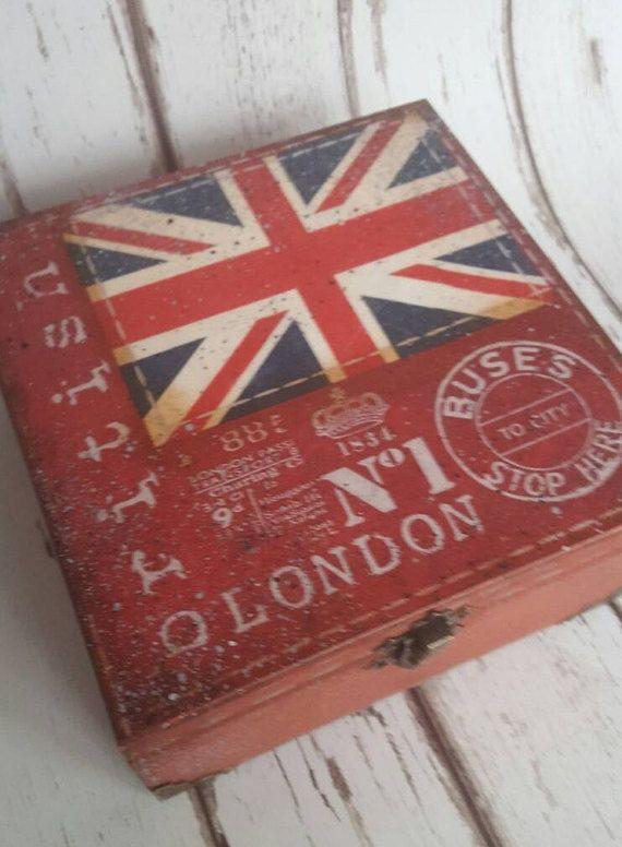 5 o'clock Tea Time Box wooden tea caddy vintage London
