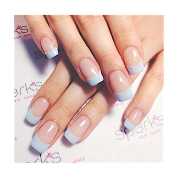 Baby blue classic french design   |   #nailart #french #nails #naildesign #sparkssalons
