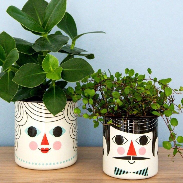 Ingela Arrhenius Enamel Couple Flower Pot Set