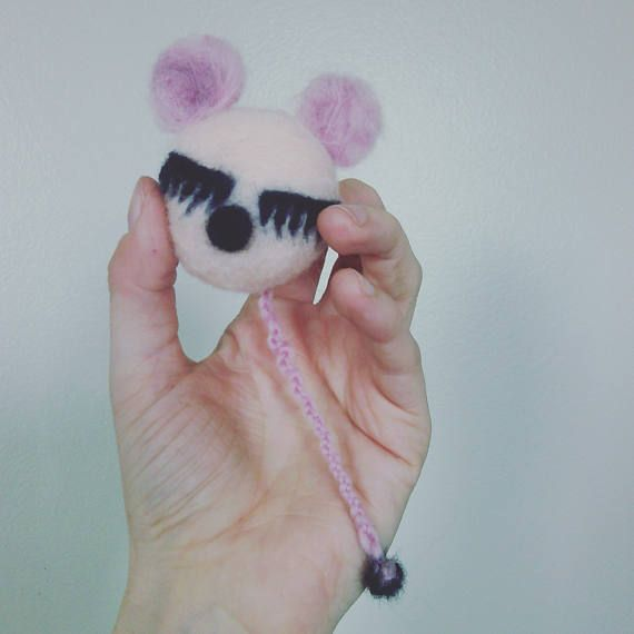 pretty mouse wool felted cat toy