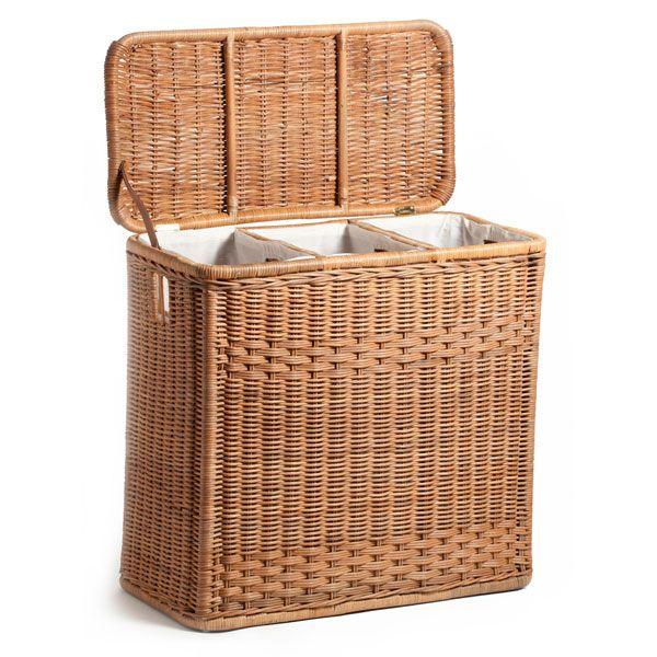 3 Compartment Wicker Laundry Hamper