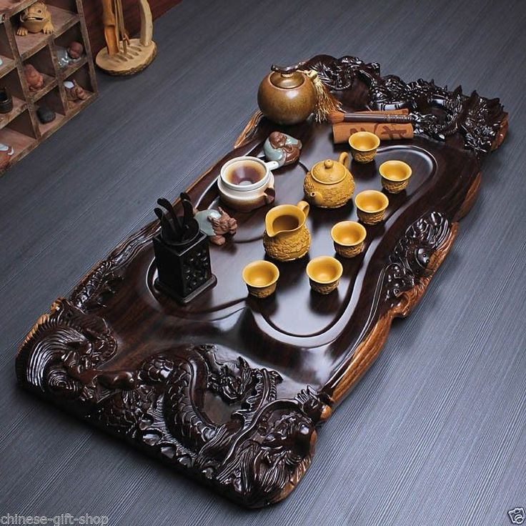 lovers gift Chinese Ebony dragon solid wood teatray luxury tea set zisha tea pot china caddy