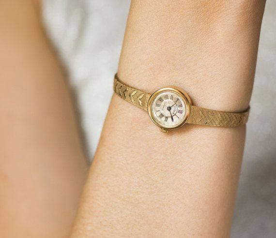 Cocktail watch bracelet Seagull gold plated women's by SovietEra