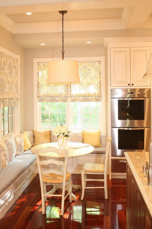 Banquettes are, in our opinion, one of the best uses of small dining spaces. They take advantage of every square inch of available room, hold tons of people and can be used for lounging any old time of day.