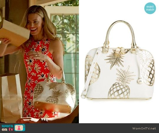 Paige's gold pineapple bag on Royal Pains.  Outfit Details: https://wornontv.net/58509/ #RoyalPains  Buy it here: http://wornon.tv/36857