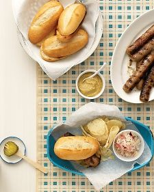 Ask a Wisconsin purist -- tradition demands that these sausages be served on a toasted hard roll (not a hot dog bun), with butter, spicy mustard (not ketchup), sweet pickles (not lettuce), and sauerkraut.