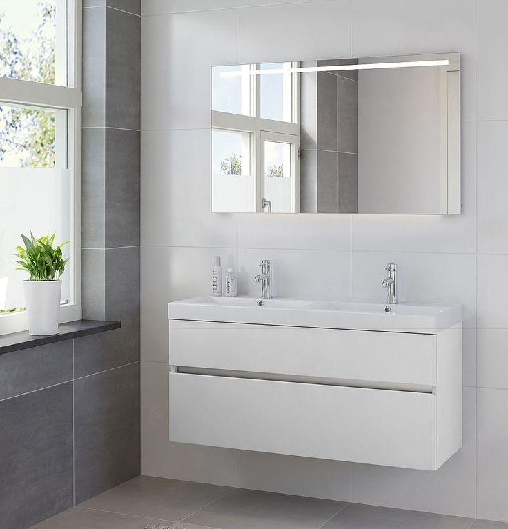 Bruynzeel Nano meubelset 120cm met spiegelpaneel mat wit | Sanispecials
