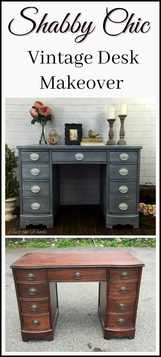 A vintage hepplewhite desk received a makeover and is now a  shabby chic desk. Painted in layers of grays and distressed to perfection