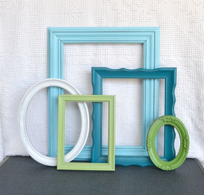 Coastal Painted Frames Collection with Glass - Aqua Teal Greens and White.. Upcycled Ornate Frames. $62.00, via Etsy.