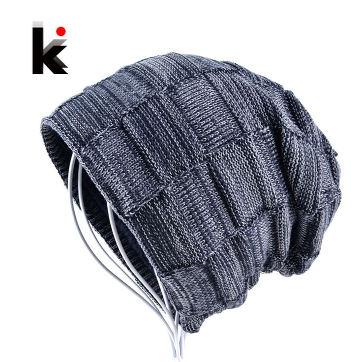 2017 Winter beanie cap boy beanies hats for men knitted wool hat bone skullies men casual bonnet warm plaid caps gorro masculino