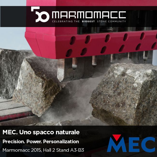 #Marmomacc 2015: Celebrating the Biggest #StoneCommunity  MEC. Uno spacco naturale.  Precision. Power. Personalization.  Scopri di più ►► http://www.mecs.it/it/