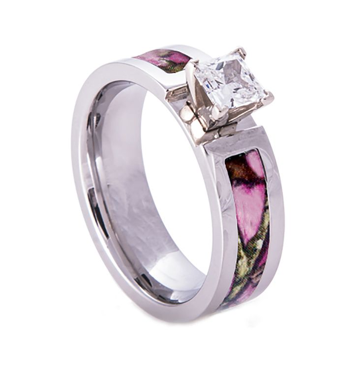 Southern Sisters Designs - Pink Camo Wedding Engagement Ring Titanium with CZ Stone, $54.95 (http://www.southernsistersdesigns.com/pink-camo-wedding-engagement-ring-titanium-with-cz-stone/)