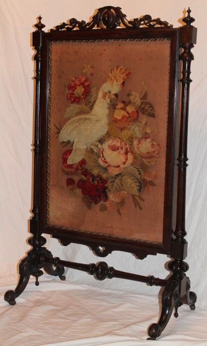 1860's American Rococo Rosewood Carved Firescreen ~ OUTSTANDING ANTIQUE NEEDLEWORK ~Bird and Roses ~ Very Nice LARGE Size ~ Magnificent Piec...