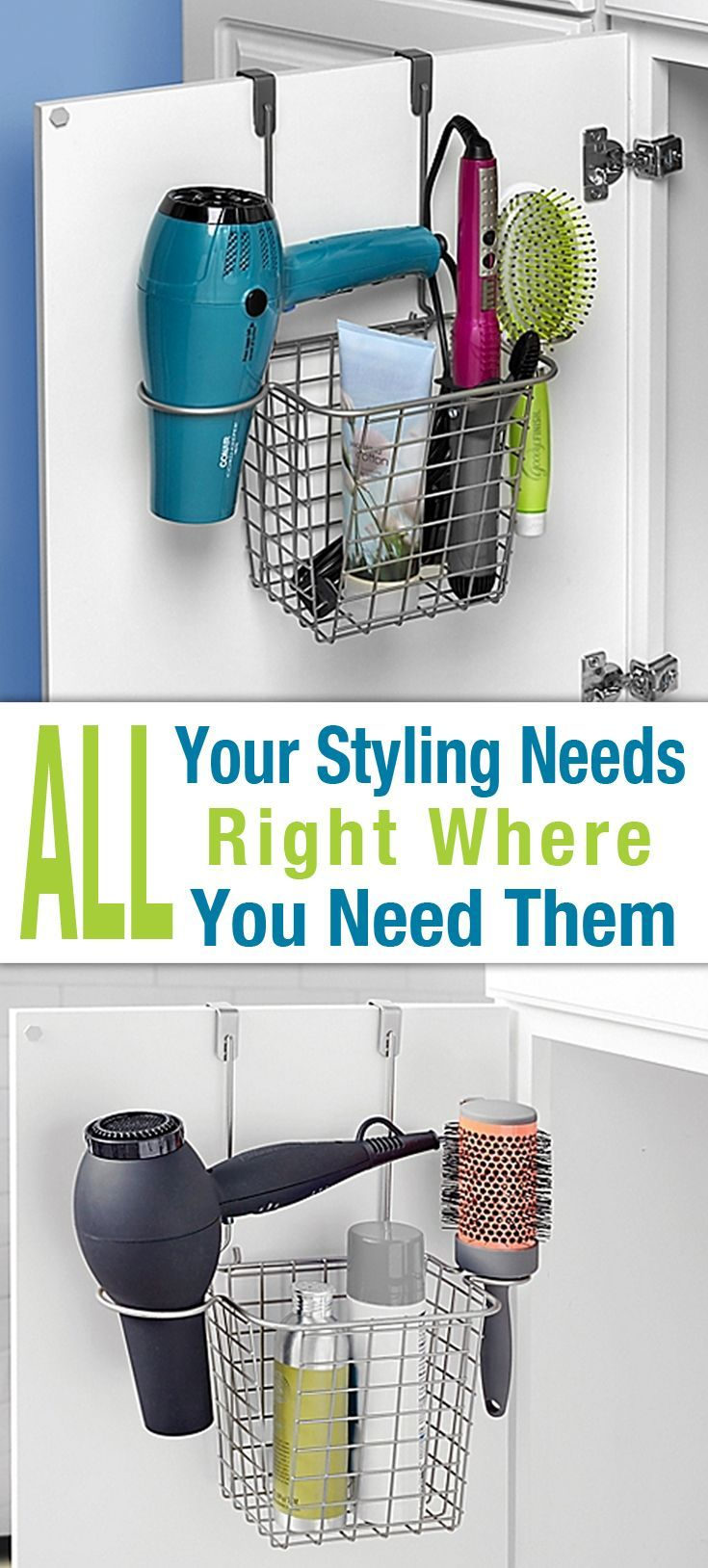 Organize Your Styling Products And Accessories With Spectrum S Grid Over The Door Styling Caddy Clutter Control Home Organization Hacks Clutter Organization