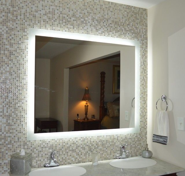 Bathroom Excellent Led Wall Mounted Lighted Mirror With Touch Button And Sink Steel Faucet