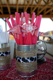Straw Flags - Cowboy Baby Shower...save cans to put stuff around and in