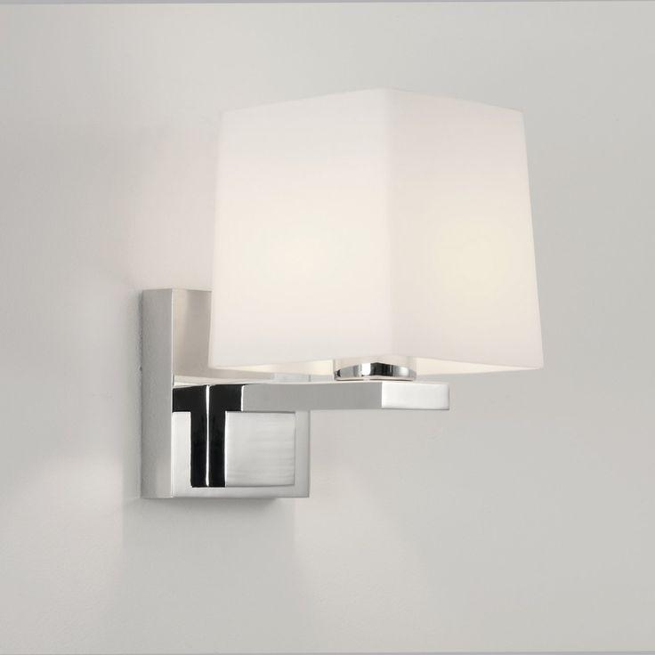 Formschöne Bad-Spiegellampe mit eckigem Glas-Schirm weiß BRONI SQUARE