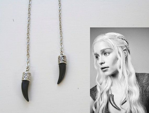 Game of Thrones Jewellery Silver Necklace Daenerys Targaryen Khaleesi Inspired Open Necklace with Dragon Claw, Horn Tribal Necklace