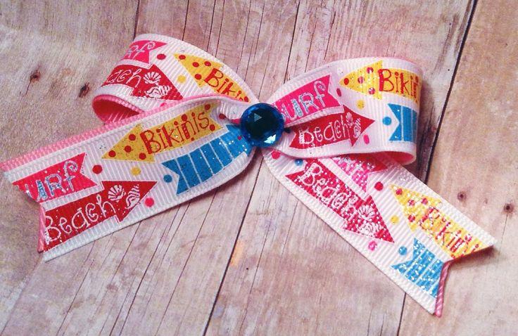 Beach hair bow, Surfer hair bow, dog hair bow, dog hair bows, small hair bow, baby hair bow, toddler clip by CreateAlley on Etsy