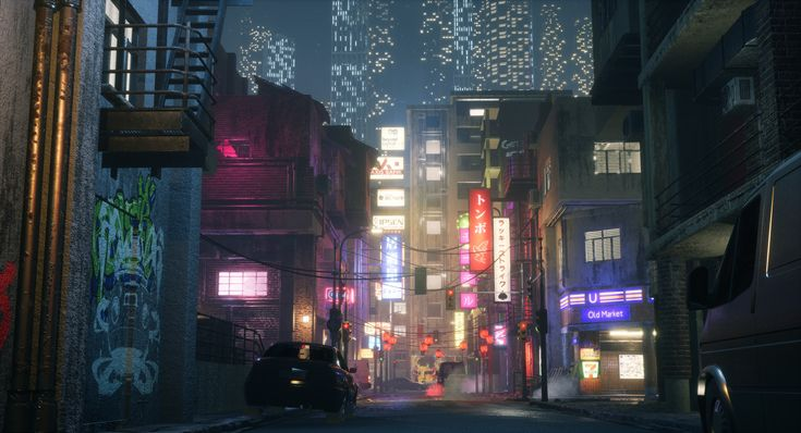 A small futuristic city scene, where I wanted mostly to create a mood inspired by the photography of Masashi Wakui. The project is put together in Unreal Engine. I created all the assets with the exception of the vehicles, bikes and the store mannequins.  For the graffiti I used images and brushes I found online and made decals out of them.