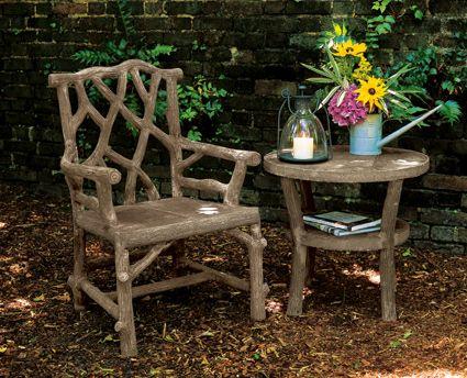 faux bois woodland armchair charlestongardenscom charleston gardensgarden furnitureoutdoor - Home And Garden Furniture Collection
