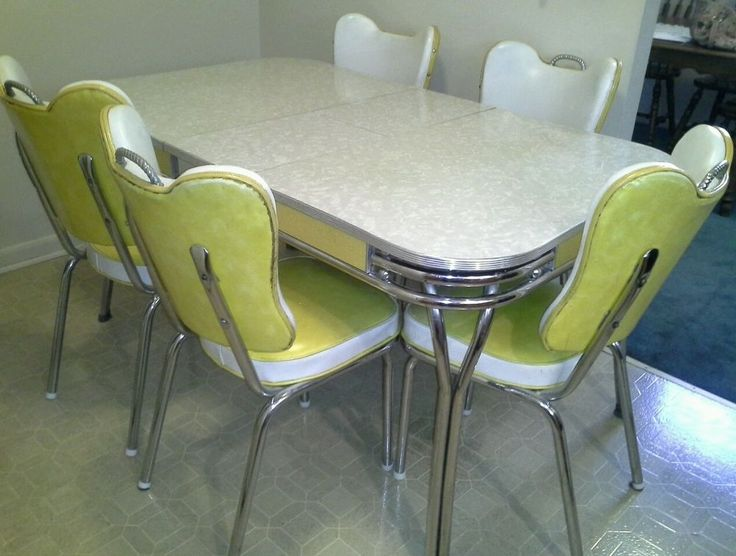 1950s MidCentury YELLOW/WHITE CHROME & FORMICA DINETTE Kitchen Table + 5 CHAIRS #MidCenturyModern