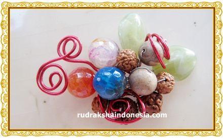 Rudraksha and Stones Combination Brooch