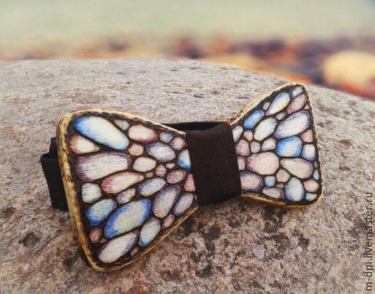 """Галстуки, бабочки ручной работы. Ярмарка Мастеров - ручная работа. Купить """"Морские камешки"""" галстук-бабочка из дерева. Handmade. Бабочка"""