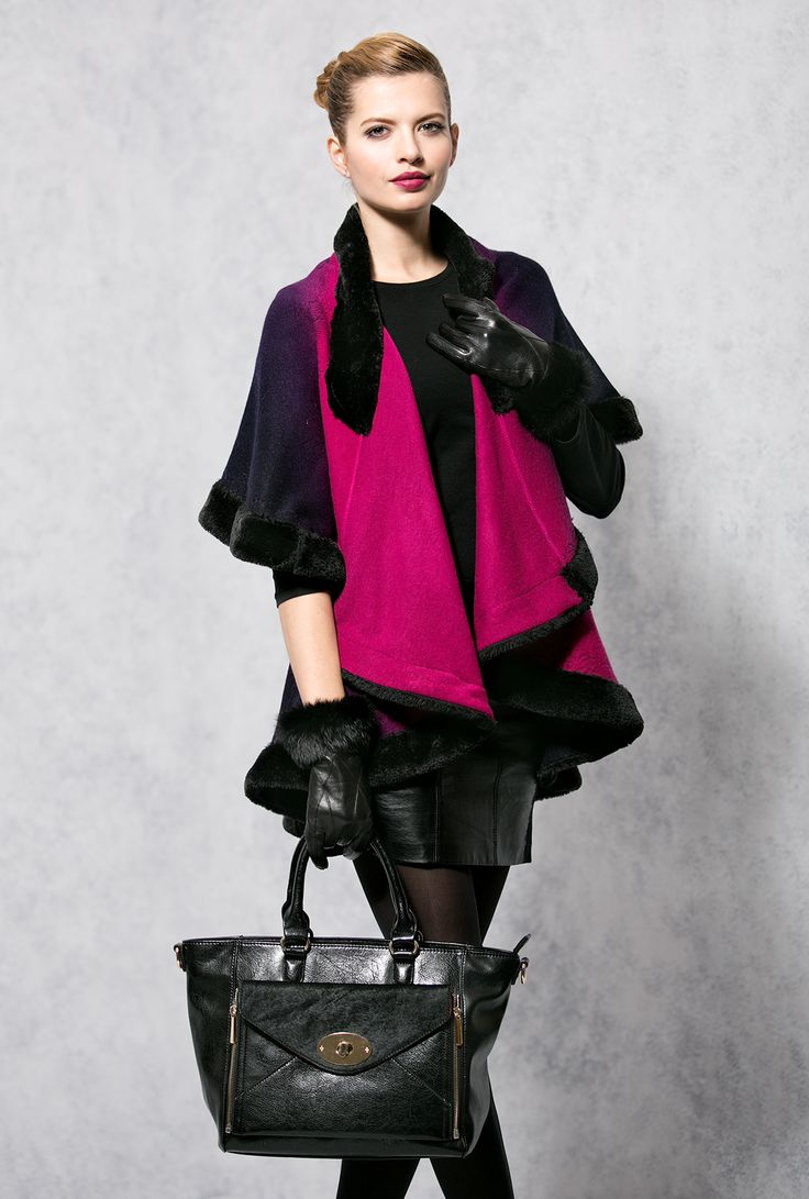 Marinello Glove, Antoniette Wrap & Henley Bag #FauxFur #Orchid #AW14 #Wrape #Cape #Shawl Available to order or top up accessories stock from our trade website www.piarossini.com