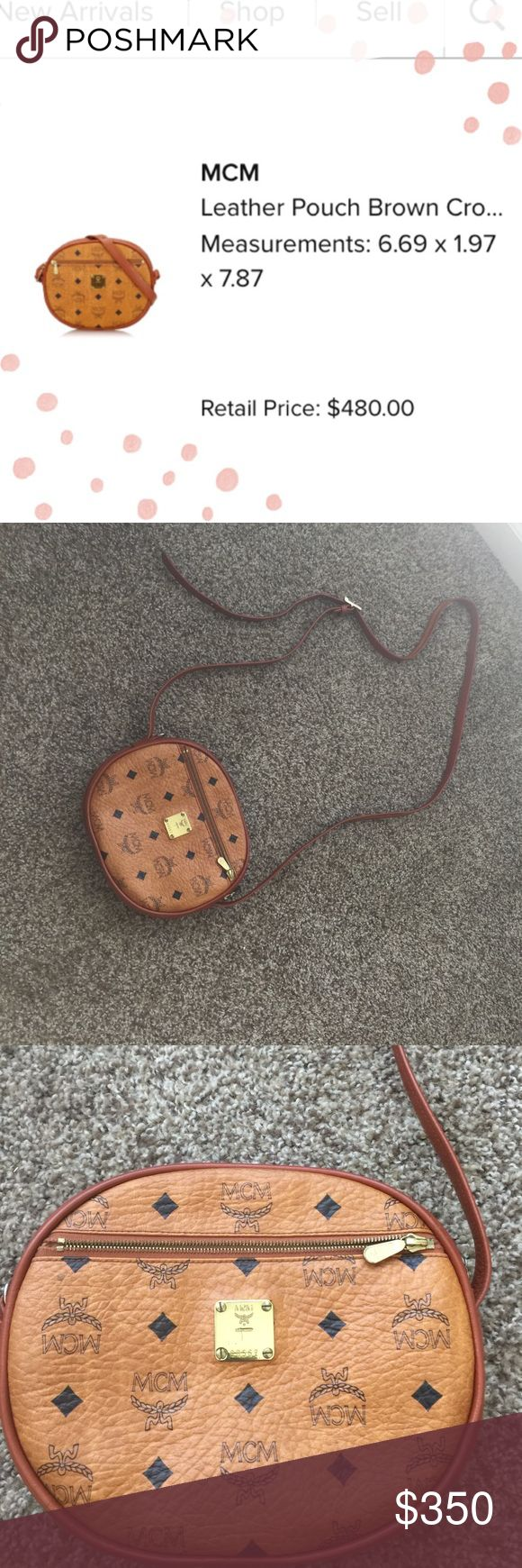 Authentic MCM oval crossbody in cognac Authentic Vintage MCM oval crossbody bag in cognac. So cute and goes with everything! This exact styles no longer selling online. Some pen marks on the inside of bag, but not noticeable when in use. Open to offers, no trades! MCM Bags Crossbody Bags
